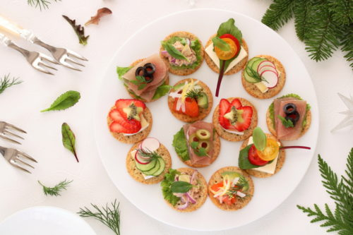 Delicous assorted cnapes for festive appetizer