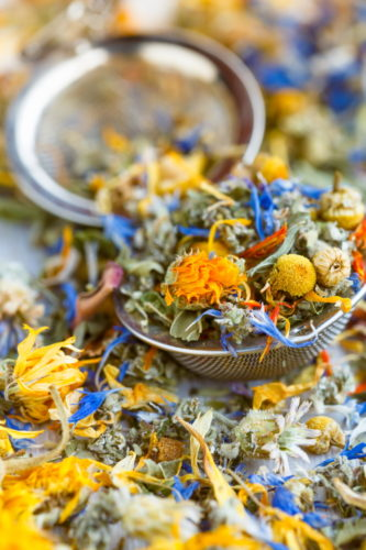 Herbs and flowers for herbal tea