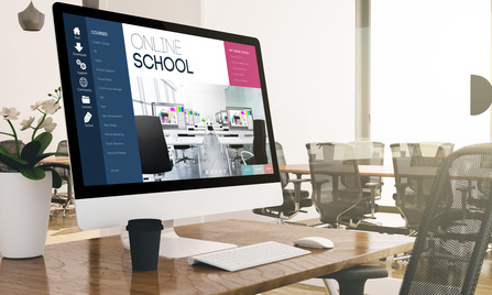 computer with online school screen at business office 3d rendering