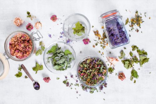 Mix of dry healthy herbs on the light grey table, top view